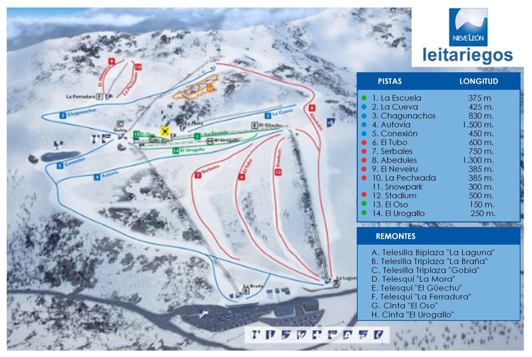 pistas estación esqui y snow leitariegos